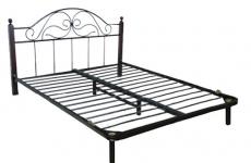 Кровати кованные на металлокаркасе и с изголовьем из экокожи