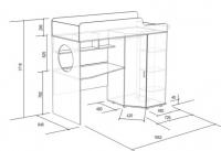 Кровать-чердак с тумбой «Легенда 4.2» L: 1800 или 1900 мм.