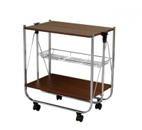 Столик сервировочный складной на колесах «вишня»
