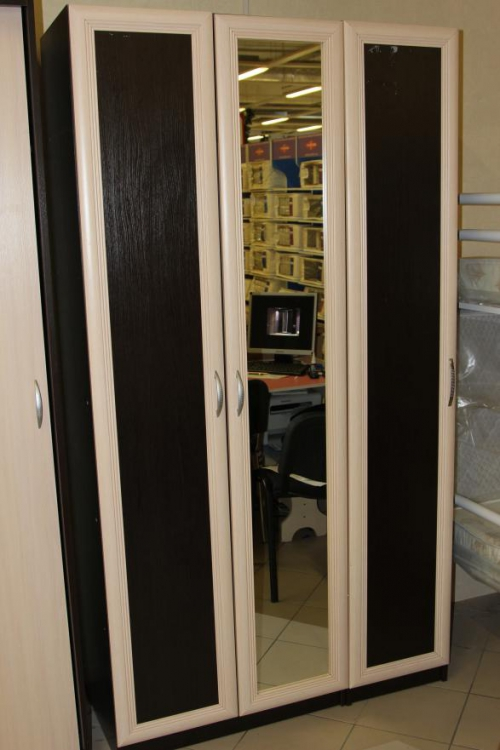 Пенал распашной с зеркальной дверью МДФ