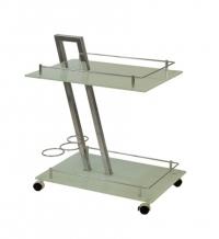 Столик сервировочный, стеклянный, на колесиках