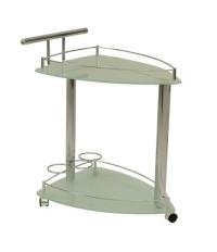Столик сервировочный, светлое стекло, на колесиках