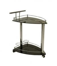 Столик сервировочный, темное стекло,  на колесиках